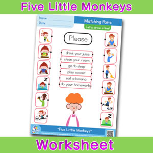 Five Little Monkeys Worksheets BINGOBONGO Matching Time 6