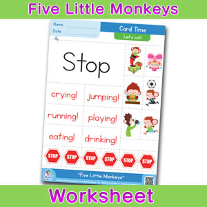 Five Little Monkeys Card Time Worksheets