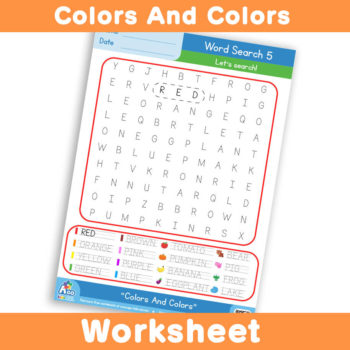 Free Colors And Colors Worksheet - Word Search 5
