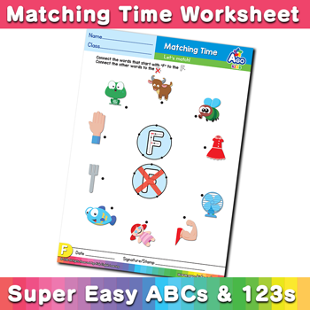 Words that start with F Phonics Matching Time
