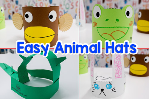 DIY Paper Craft Animal Hats (Bunny, Frog, Monkey, Dinosaur)